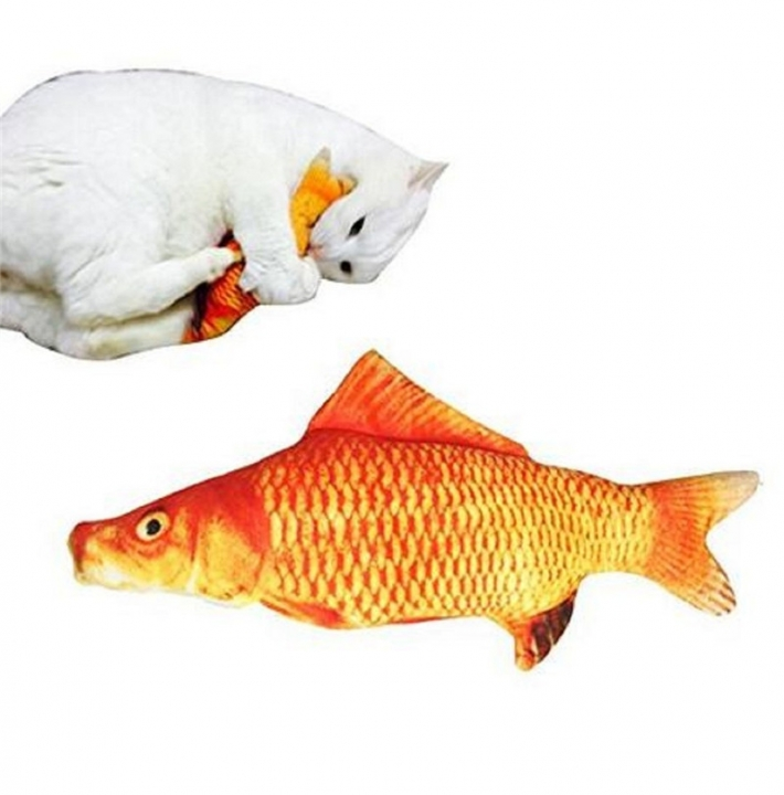 Catnip Toys Simulation Plush Fish Carp Shape Doll Interactive Pets Pillow Chew Bite Supplies Crap-s 20X8CM