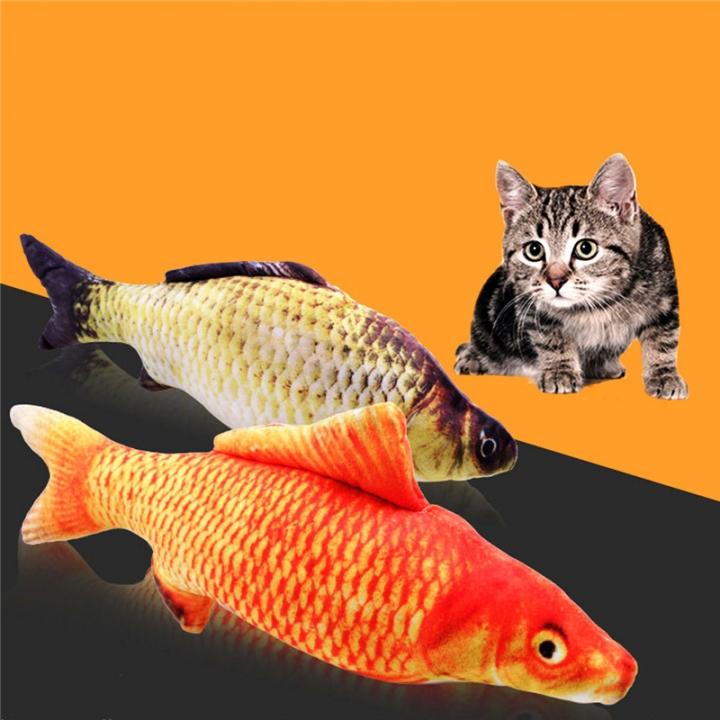 Catnip Toys Simulation Plush Fish Carp Shape Doll Interactive Pets Pillow Chew Bite Supplies Crap-m 20X8CM