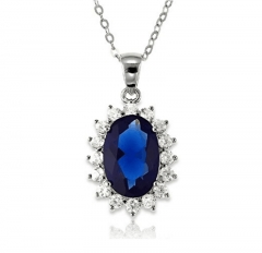 Sterling Silver Fashion Jewelry Royal Blue Cubic Zirconia Princess Diana Engagement Necklaces blue 40cm