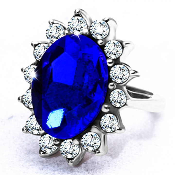 Silver Plated Rhodium Plated Simulated Blue Sapphire and Cubic Zirconia Halo Ring 8# no size