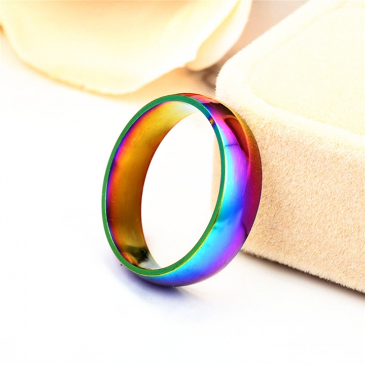 Fashion Colorful Rainbow Cpuple Ring Stainless Steel Wedding Ring Size 5-13 6# no size