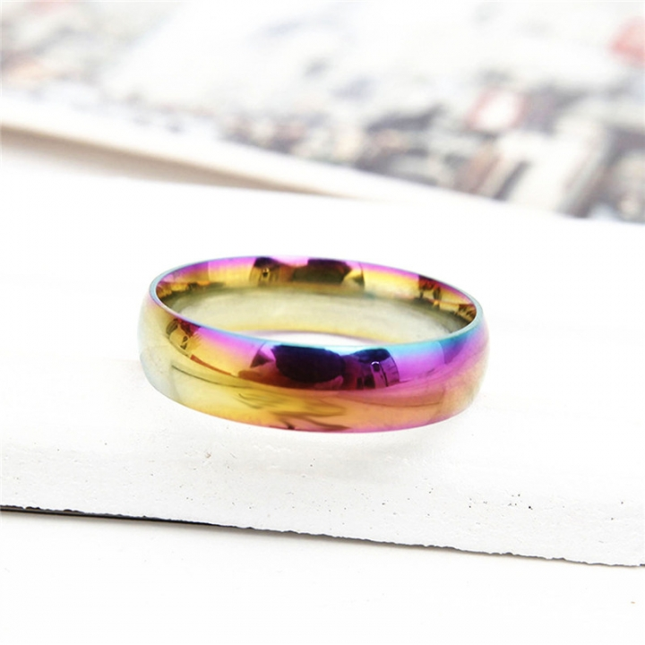 Fashion Colorful Rainbow Cpuple Ring Stainless Steel Wedding Ring Size 5-13 8# no size