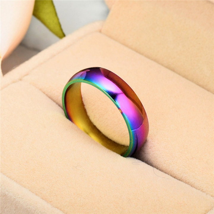Fashion Colorful Rainbow Cpuple Ring Stainless Steel Wedding Ring Size 5-13 11# no size