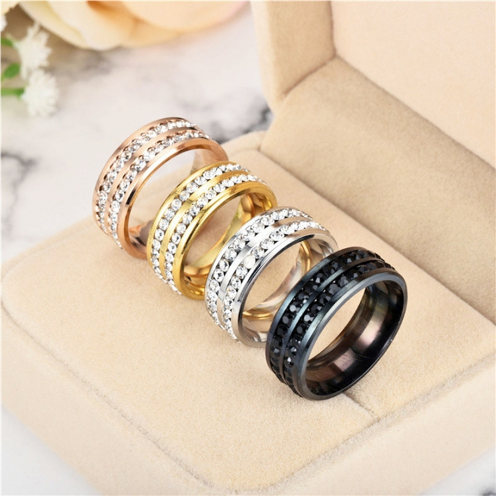 2 Rows Crystal Engagement Rings Four Colors Costume Wedding Rings for Women silver no size