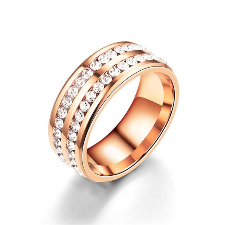 2 Rows Crystal Engagement Rings Four Colors Costume Wedding Rings for Women Rose Gold no size