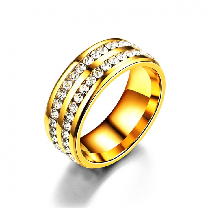 2 Rows Crystal Engagement Rings Four Colors Costume Wedding Rings for Women gold no size