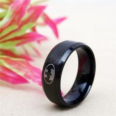 European Fashion Titanium Steel Batman Rings for Women and Men 2PCS black One size