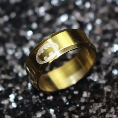 European Fashion Titanium Steel Batman Rings for Women and Men gold one size
