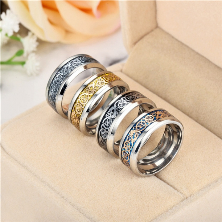 Vintage Four Colors stainless steel Dragon Ring Mens Jewelry for Wedding Band male ring for lovers Gold no size