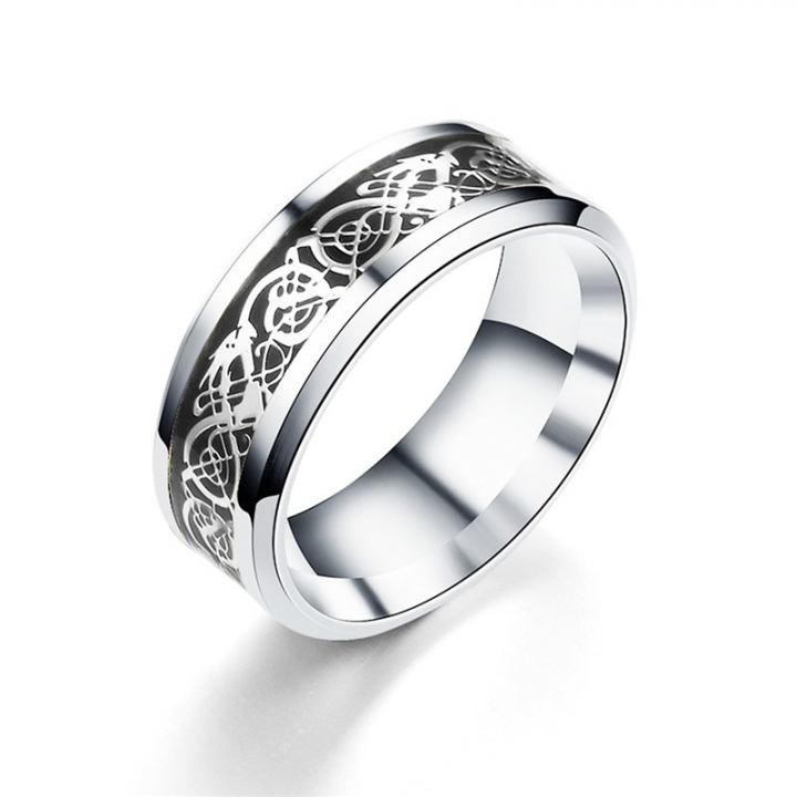 Vintage Four Colors stainless steel Dragon Ring Mens Jewelry for Wedding Band male ring for lovers black no size