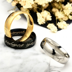 6MM Hobbit Letter Rings Stainless Steel the Lord Rings Titanium Wedding Rings for Man black one size