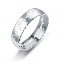 6MM Hobbit Letter Rings Stainless Steel the Lord Rings Titanium Wedding Rings for Man silver one size