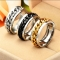 New High-end Boutique Stainless Steel Chain Punk Rock Style Rotatable Ring 3 Colors for Man gold no size