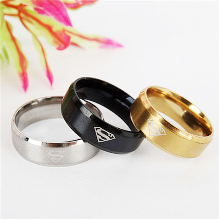 8mm Fashion Stainless Steel Superman Rings Wedding Rings for Men & Women Jewelry 3 Colors gold 8mm