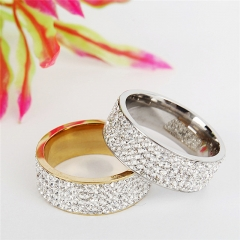 Stainless Steel Rhinestone Couple Ring Men Women Wedding Engagement Band Rings gold one size