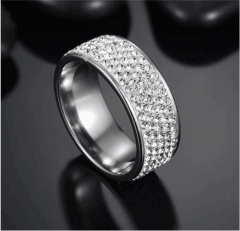 Stainless Steel Rhinestone Couple Ring Men Women Wedding Engagement Band Rings silver one size