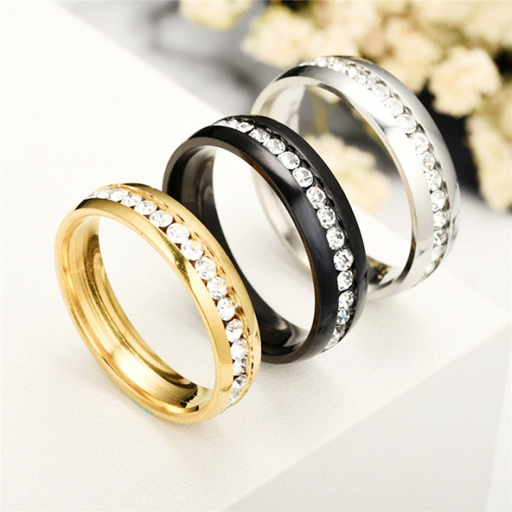 Fashion Stainless Steel Rhinestones Rings for Women Small Surround Jewelry gold no size