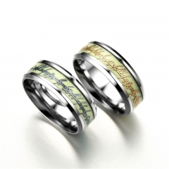 New Fashion Luminous Ring Glow In The Dark Gold Inlay Green Background Silver Men Woman Rings silver one size