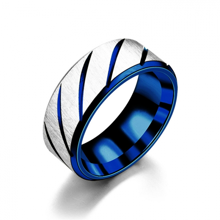 Titanium Band Brushed Wedding Stainless Steel Solid Twill Rings for Men Women blue no size