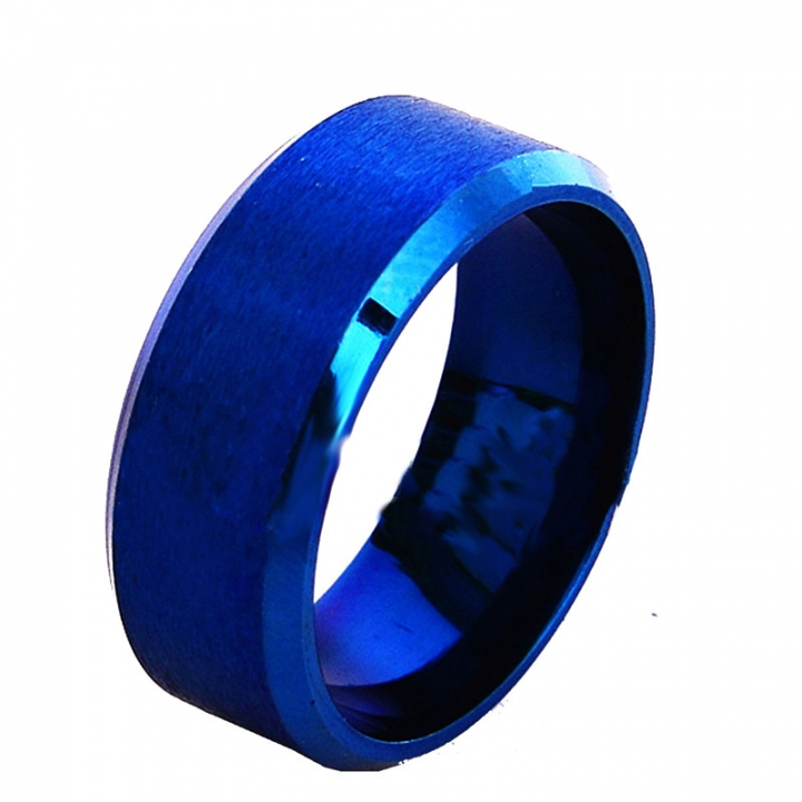 New Fashion Matte Finished Stainless Steel Band Wedding Rings for Women Men Party Ring blue no size