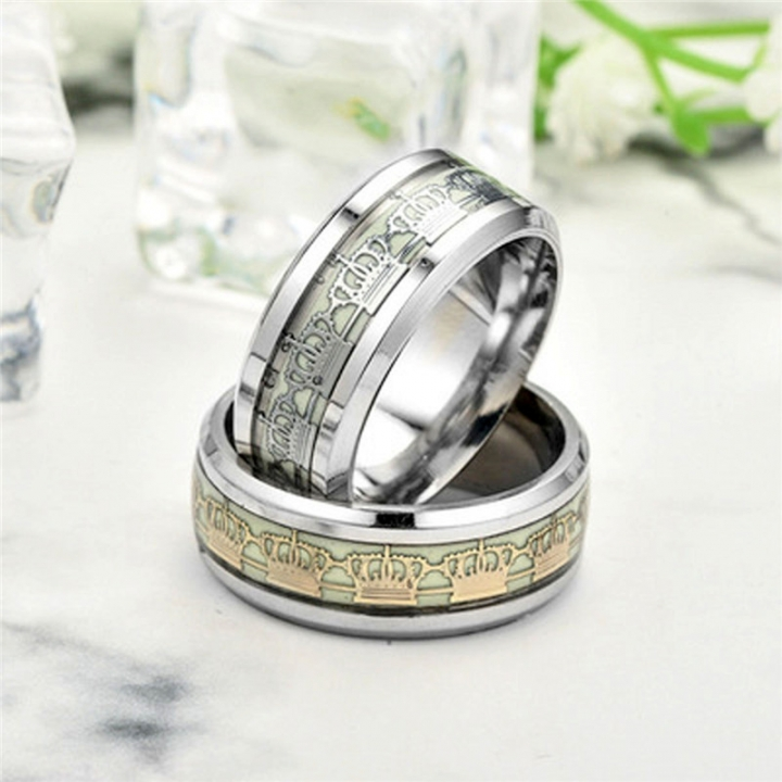 New Original Luminous Dark Glow Fluorescent Rings for Women Party Jewelry silver no size