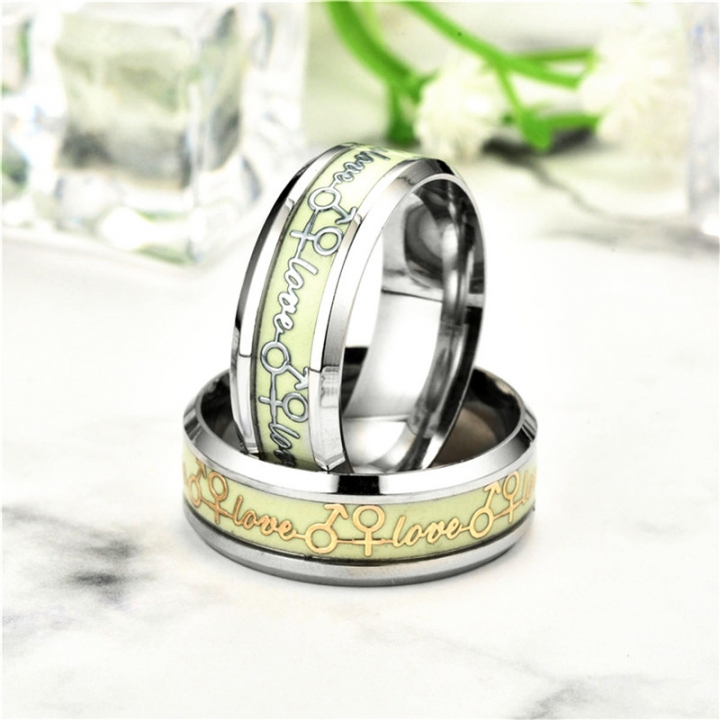 Fashion Couple Ring Nighttime Luminous Eternal Love Ring silver one size