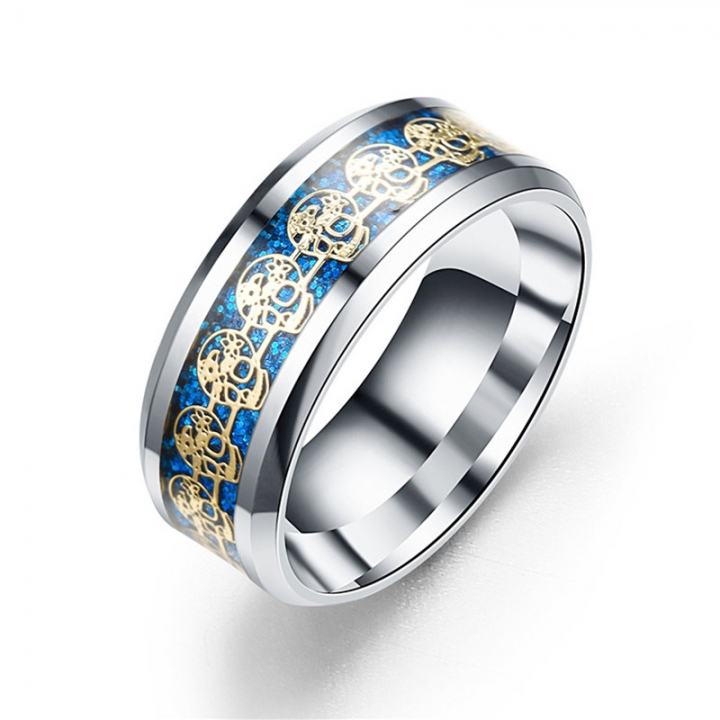 Creative Stainless Steel Skull Rings for Men Women Couple Rings Jewelry blue no size