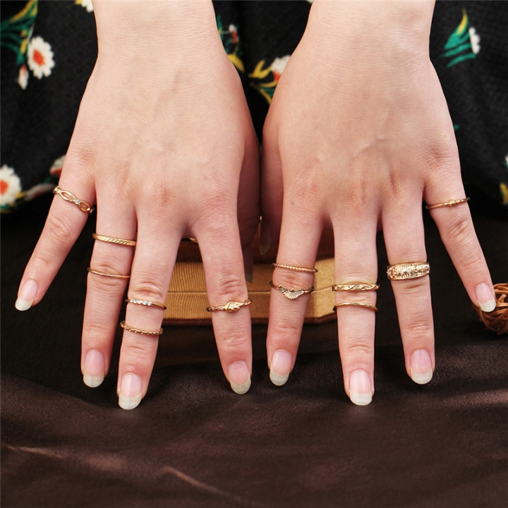 12 PC Charm Gold  Midi Finger Ring Set for Women Vintage Boho Knuckle Party Rings Punk Jewelry Gifts gold one size