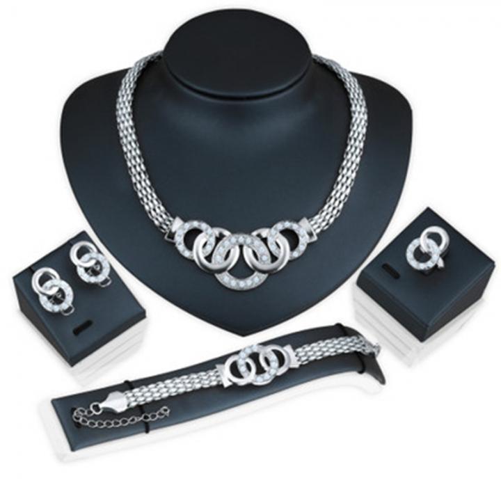 5 piece/Set New alloy Necklace Pendant Earring Studs Bracelet Wedding Rings Women Men Jewellery silver 51CM-80CM