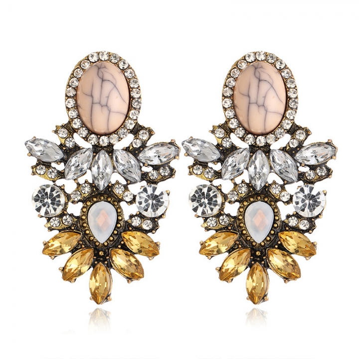 New Elegant Crystal Ear Studs Vintage Jewelry Retro Earrings for Women Cristmas Gifts As picture no size