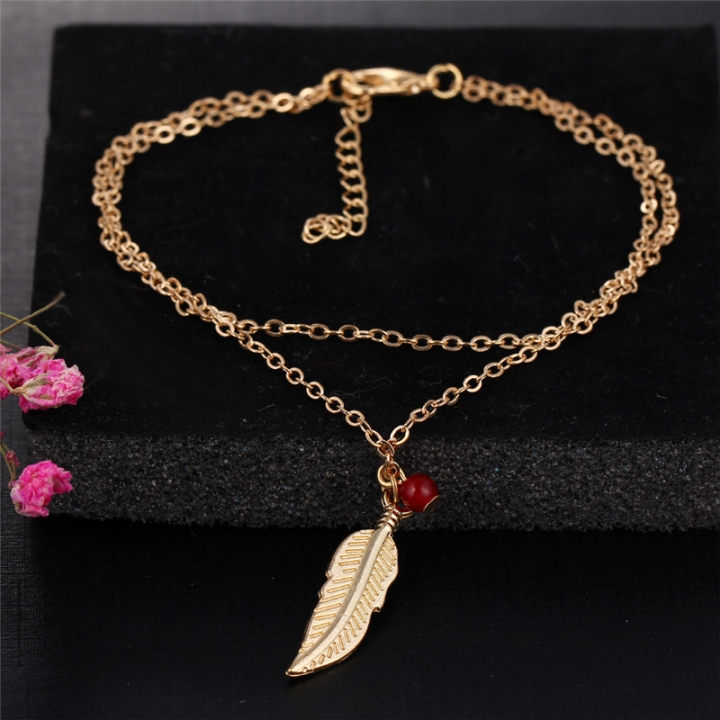 Double Layer Fashion Women Feathers Leaves Anklets Beads Bracelet Tassel Sandals Beach Foot Jewelry gold no size