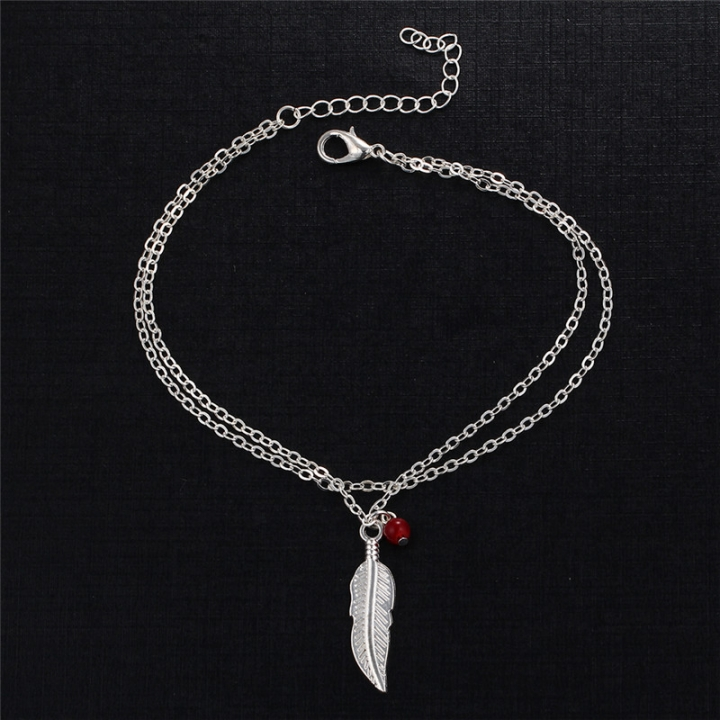 Double Layer Fashion Women Feathers Leaves Anklets Beads Bracelet Tassel Sandals Beach Foot Jewelry silver no size