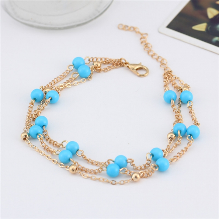 2017 Retro Foot Jewelry Bohemian Beach Holiday Anklet Blue Beads Ankle Bracelets for Women gold no size