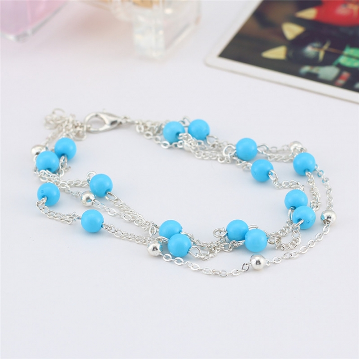 2017 Retro Foot Jewelry Bohemian Beach Holiday Anklet Blue Beads Ankle Bracelets for Women silver no size
