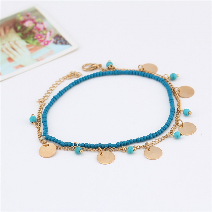 Vintage Silver Color Women Anklet Blue Beads Bohemian Ankle Bracelet Boho Foot Jewelry gold no size