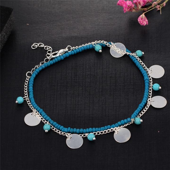 Vintage Silver Color Women Anklet Blue Beads Bohemian Ankle Bracelet Boho Foot Jewelry silver no size