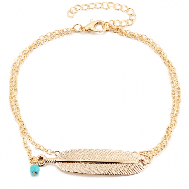 Vintage Anklet Women Blue bead Leaf Charms Beads Bohemian Ankle Bracelet Foot Jewelry gold no size