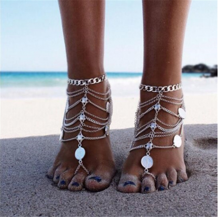 Fashion Bohemian Vintage Ethnic Multilayer Chain Tassels Anklets Coin Anklets for Women silver no size