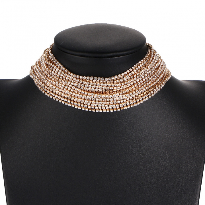 Fashion Exaggerated Necklace Choker Necklace Women Retro Personality Multilayer Rhinestones Necklace gold perimeter: 21-50cm