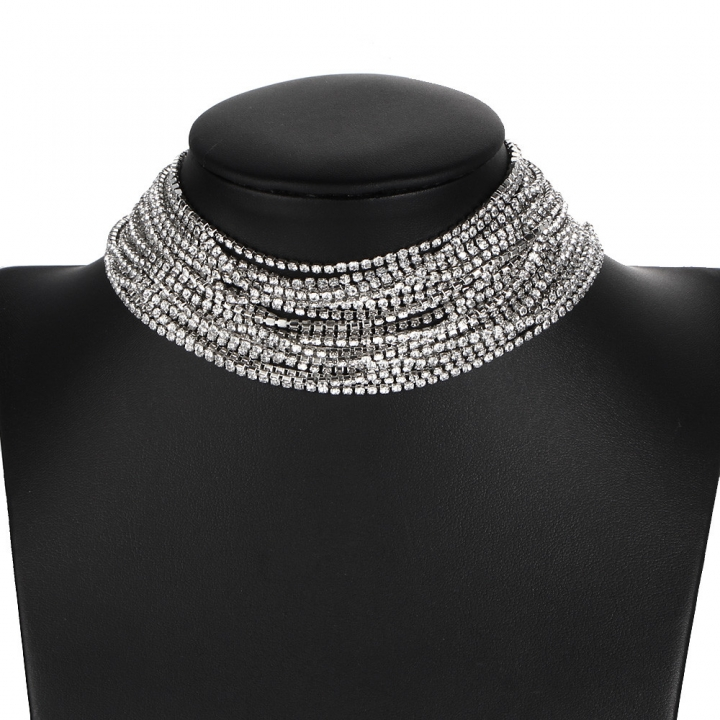 Fashion Exaggerated Necklace Choker Necklace Women Retro Personality Multilayer Rhinestones Necklace silver perimeter: 21-50cm