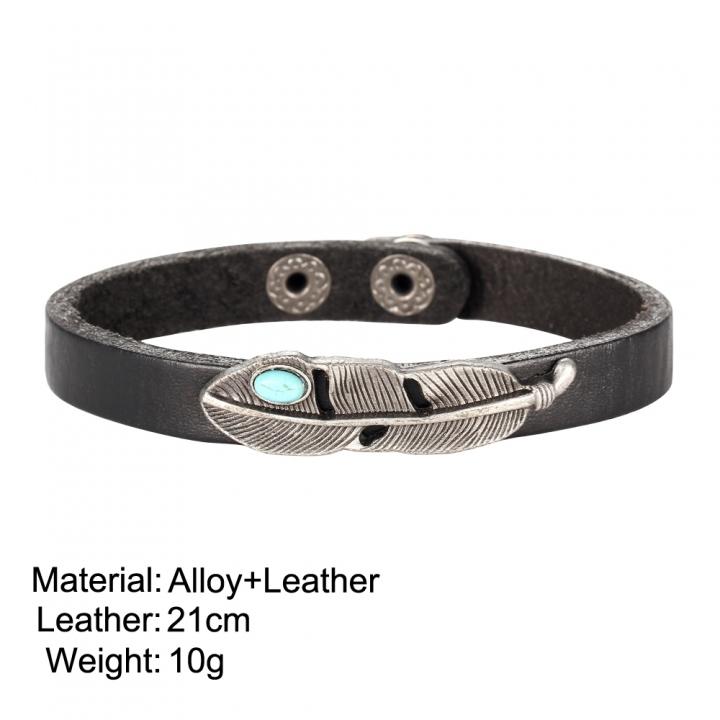 Fashion Retro Alloy Leather Bracelet Turquoise Feathers Bracelet for Women & Men black no size