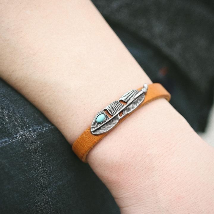 Fashion Retro Alloy Leather Bracelet Turquoise Feathers Bracelet for Women & Men brown no size