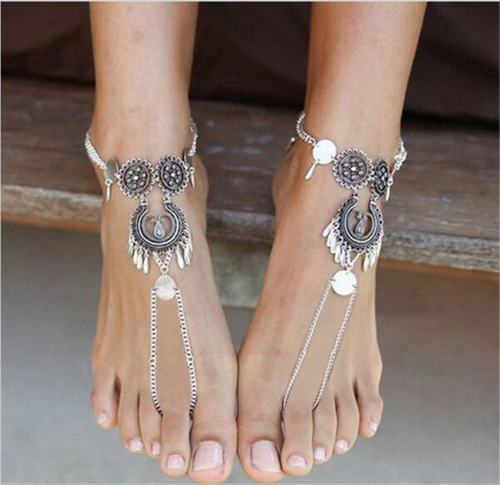 Bohemian Silver Color Hollow Flower Chain Anklets Beach Barefoot Sandals Foot Jewelry As picture no size