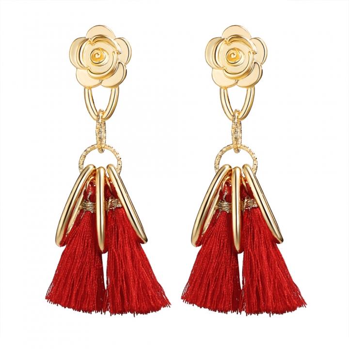 Long Tassel Earrings for Women Gold Retro Flower Dangle Drop Earring Fashion Jewelry red 10CM