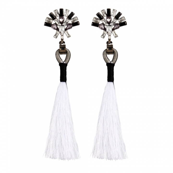 Bohemian Ethnic Vintage Earrings Rhinestone Crystal Long Tassel Stud Earrings for Women white 11cm