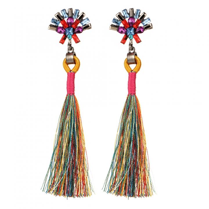 Bohemian Ethnic Vintage Earrings Rhinestone Crystal Long Tassel Stud Earrings for Women multicolor 11cm