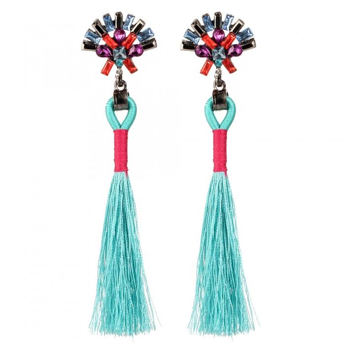 Bohemian Ethnic Vintage Earrings Rhinestone Crystal Long Tassel Stud Earrings for Women blue 11cm