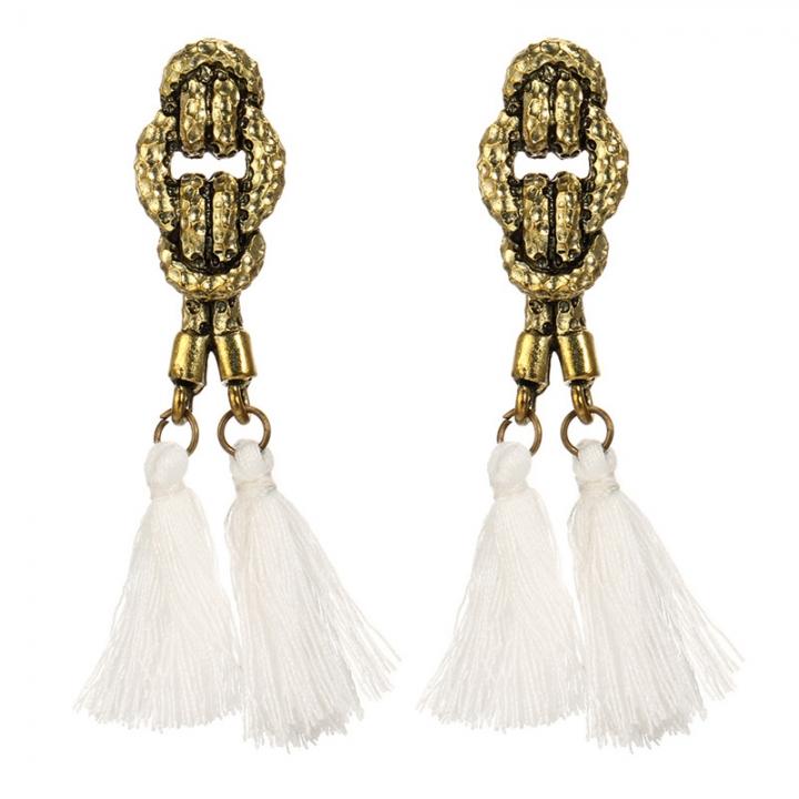Boho Rope Ethnic Bohemian Tassel Earrings Gold Stud Earrings Jewelry for Women Girls white 6.6cm