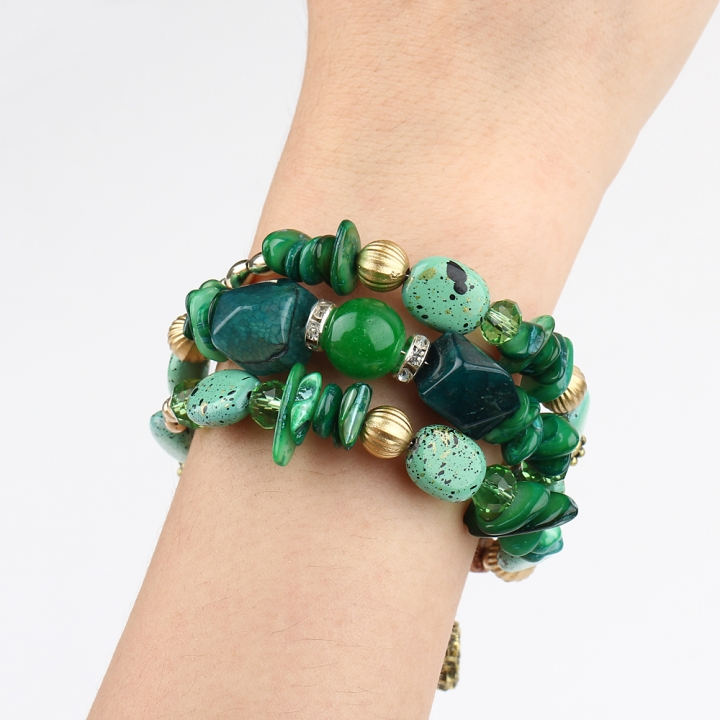New Fashion Retro Colorful Artificial Gems Female Multilayer Bracelet Summer Dress Jewelry Green 21cm
