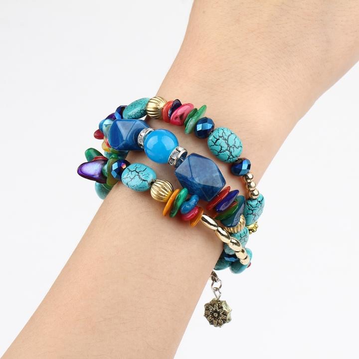 New Fashion Retro Colorful Artificial Gems Female Multilayer Bracelet Summer Dress Jewelry multicolor 21cm